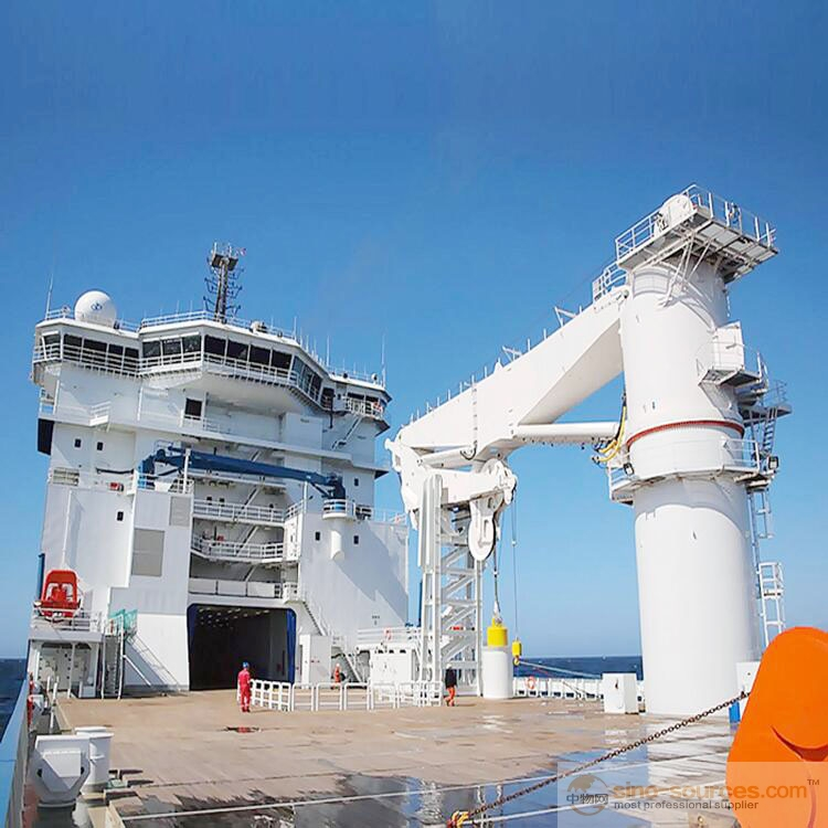 Offshore Operation 80 ton small boat used types of ships Deck Hydraulic Marine Crane