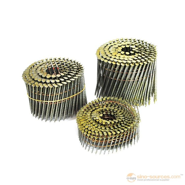 3/4 inch Collated Nails 15 Degree Golden Zinc Coil Roofing Nails - 7200CT Box