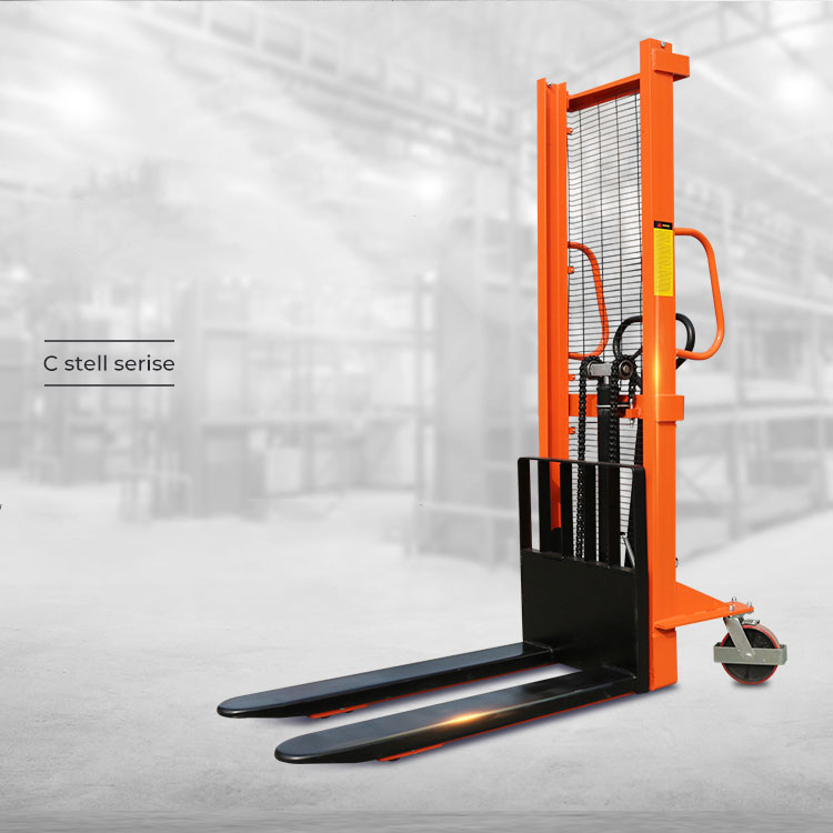 Hand manual pallet operated stacker hydraulic 1 m lifting pallet stacker forklift