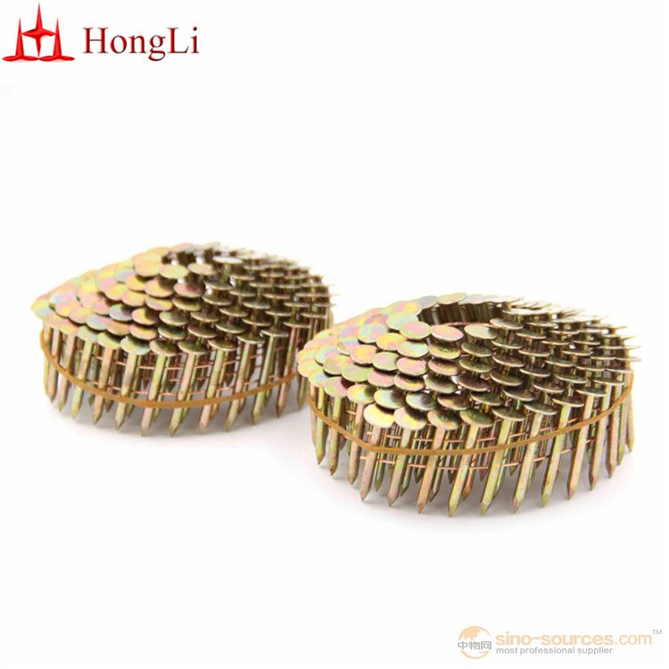 7/8 inch Collated Nails 15 Degree Golden Zinc Coil Roofing Nails - 7200CT Box