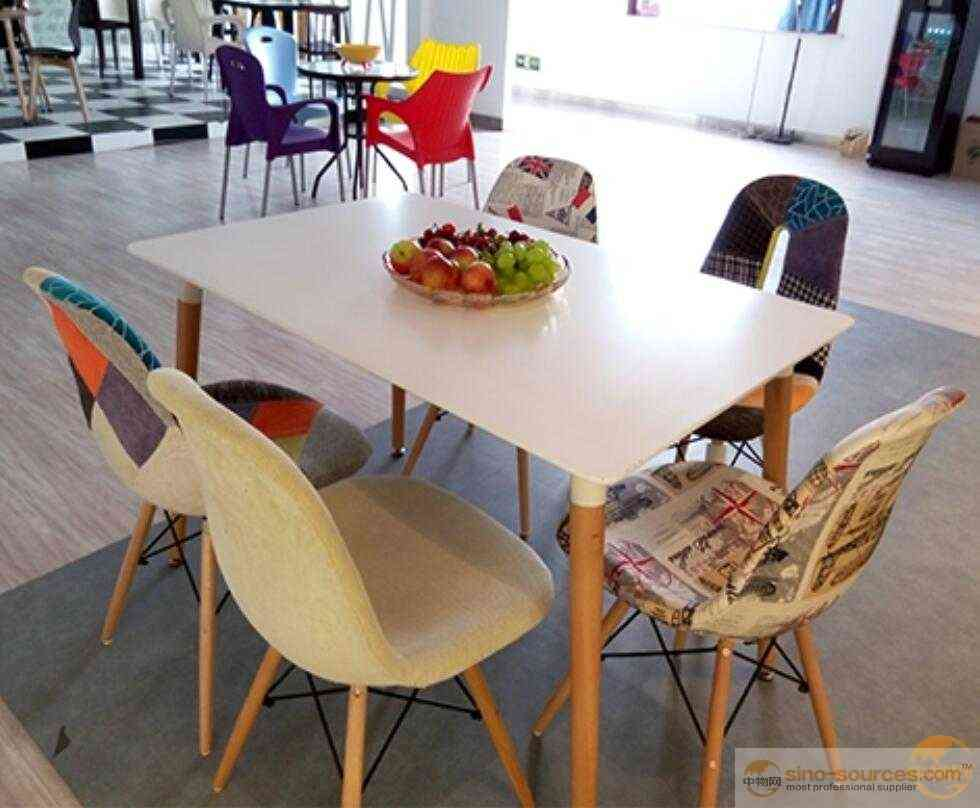 Rectangular MDF Dining Table and Stools with wooden Legs