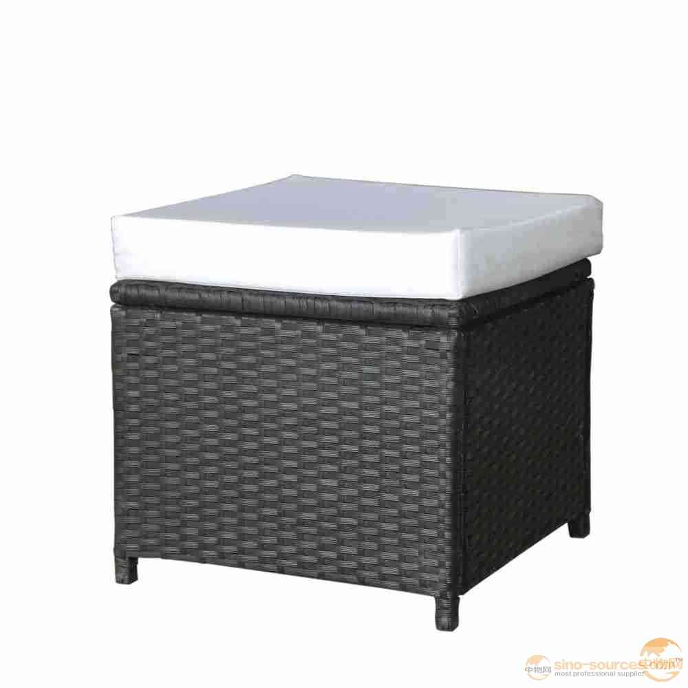 Rattan Stool with Waterproof Cushion