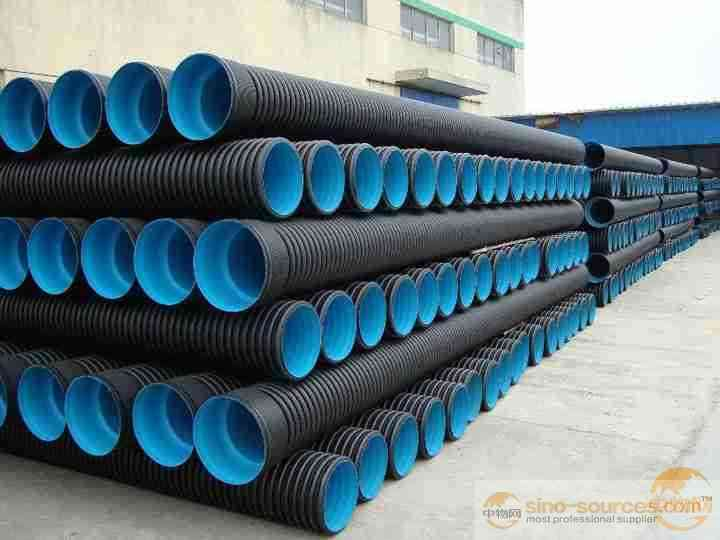 200mm Corrugated waste water canalization pipes Double wall corrugated hdpe pipes