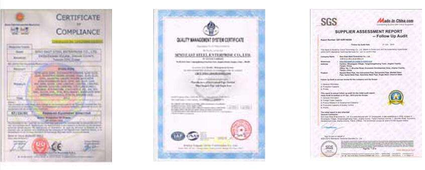 Certificate of hot dipped galvanized corrugated steel sheet