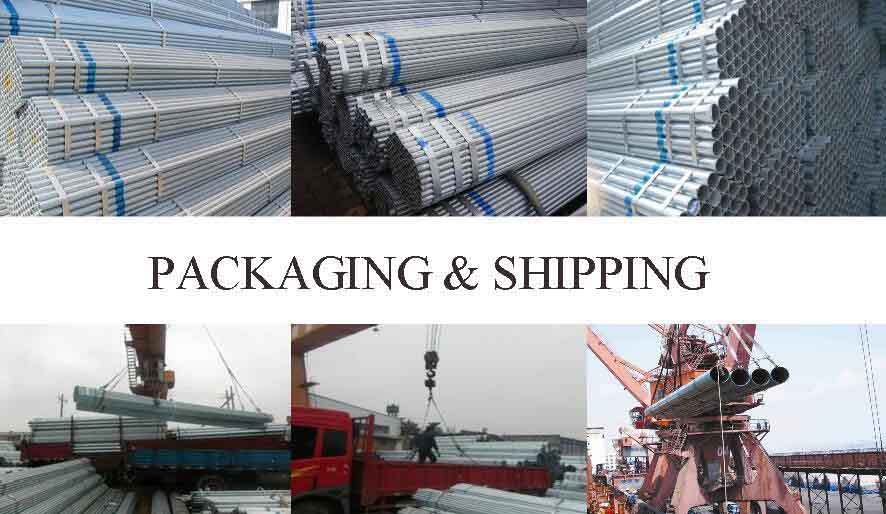 packaging and shipping of 4 inch galvanized mild steel pipe