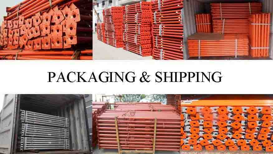 Packaging & shipping of scaffolding steel shoring prop from factory