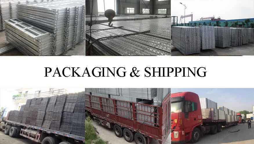 Packaging and shipping of used scaffolding steelplanks made in china