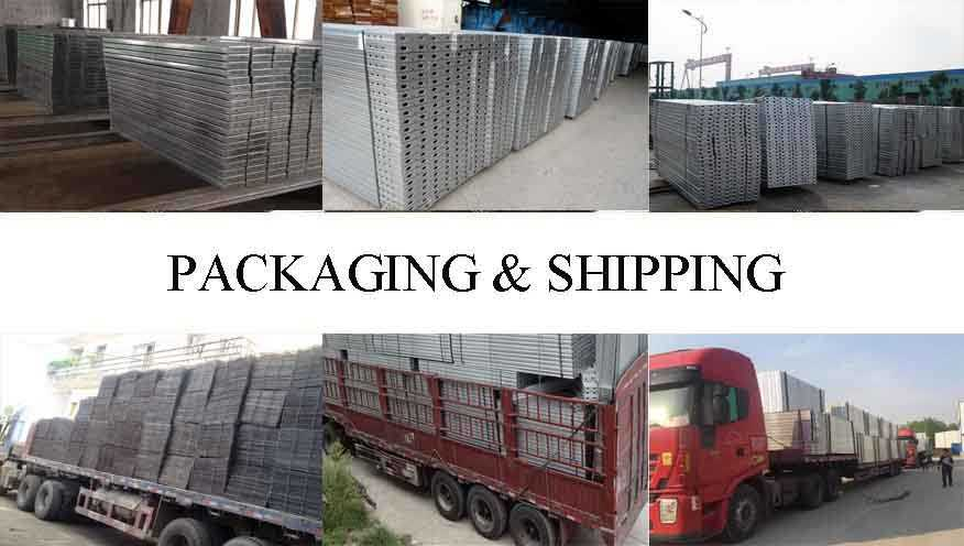 Packaging and shipping of scaffolding steel planks used for construction