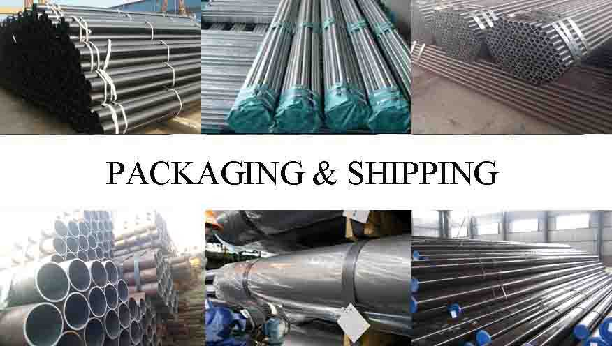 PACKAGING AND SHIPPING OF PE Black paint and pipe cap  steel seamless pipes