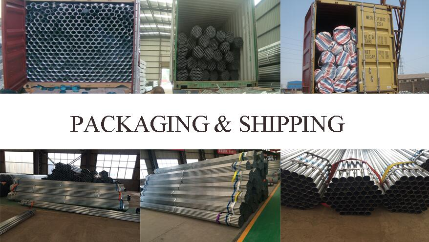 packaging andshipping  of 5 inch High qulity welded galvanized steel pipe supplier