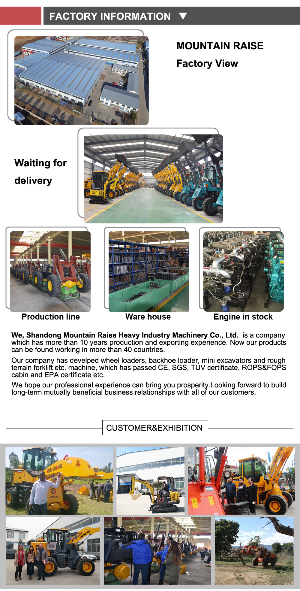 Mountain Raise Manufacturer 636 zl30 Wheel Loader