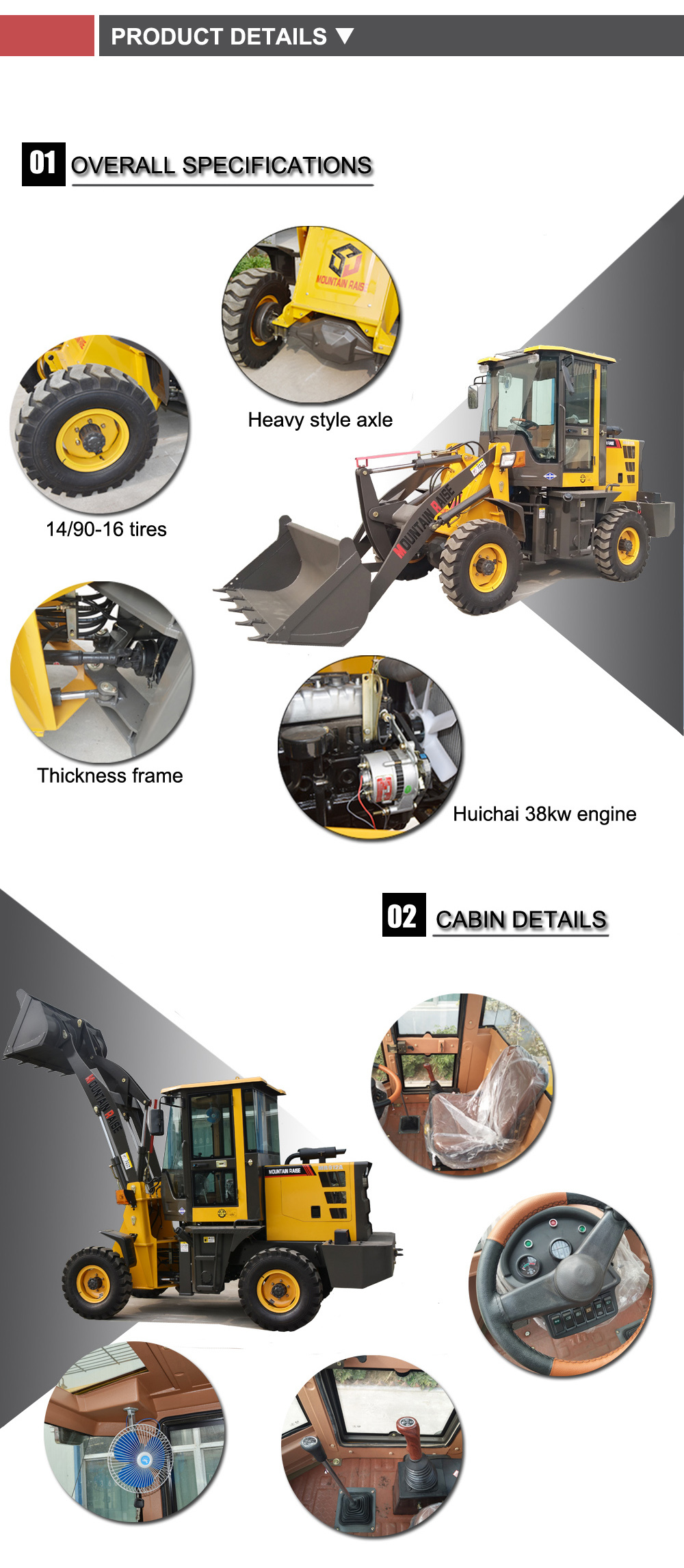 Mountain Raise compact mini wheel loader for construction equipments