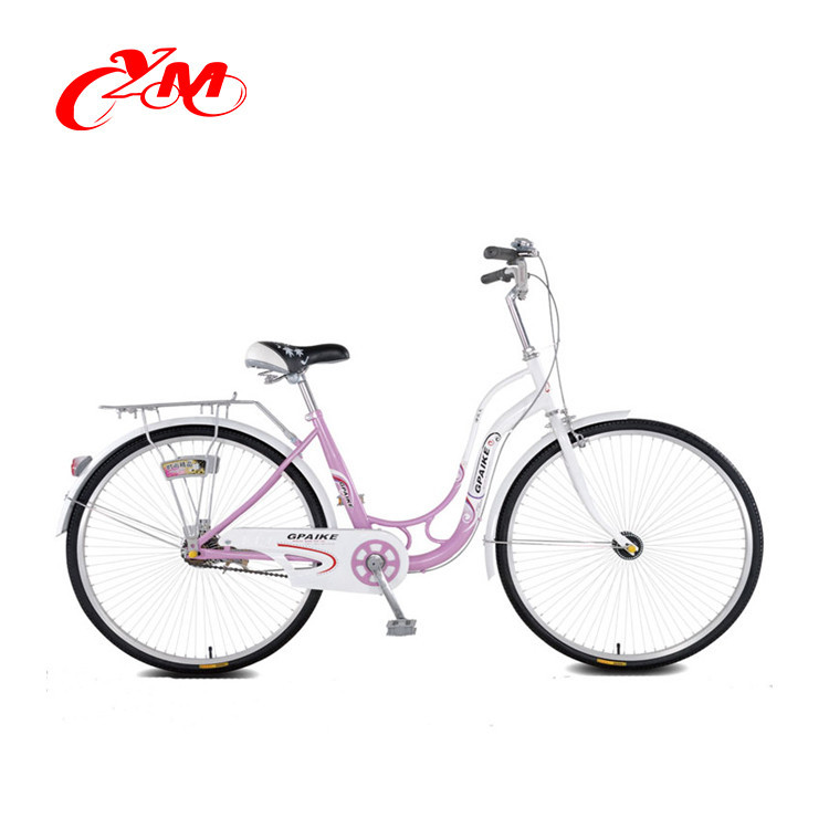 24 Inch aluminum city bike, red basket bicycle city for wholesale
