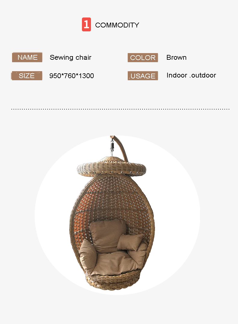 Rattan Outdoor Furniture Egg Hanging Swing Leisure Chair