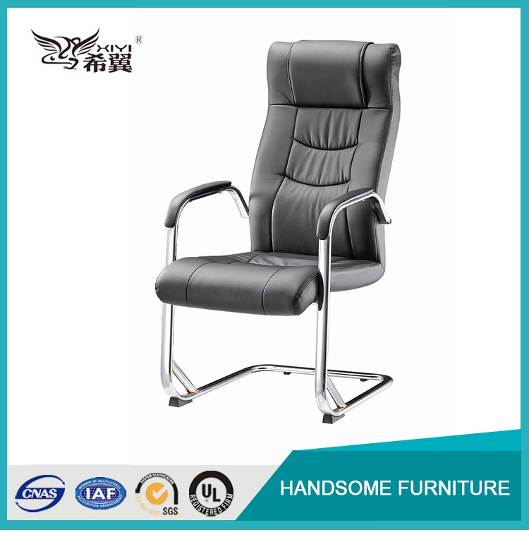 Executive chair leather / metal bow swivel office chair with no wheels