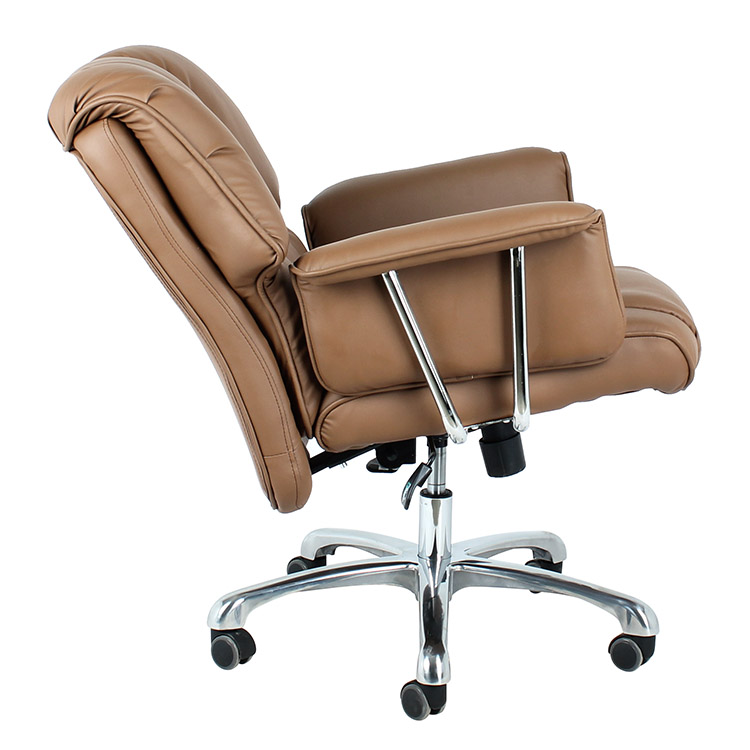 Commercial comfortable brown color leather 360 degree swivel office chair