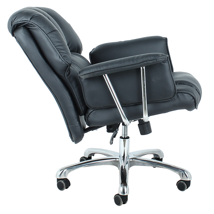 Mid back executive black faux leather swivel arm pad office chair